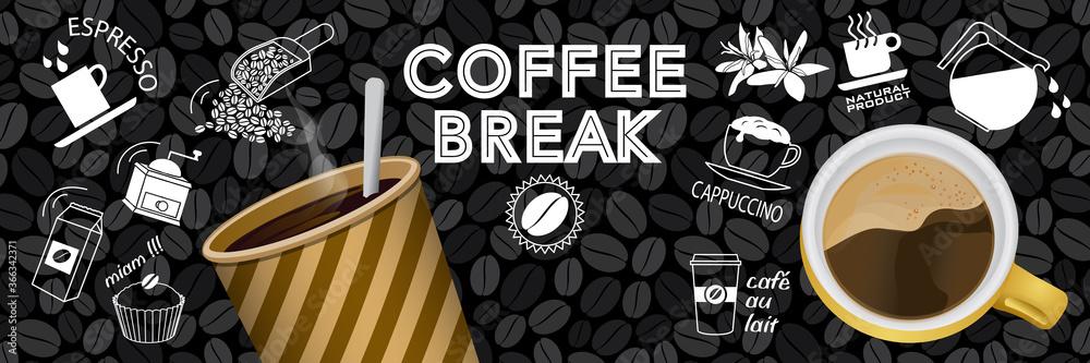 Fototapeta Bannière ou affiche autour du thème du café avec des éléments en couleur et au trait blanc sur un fond de tableau noir.