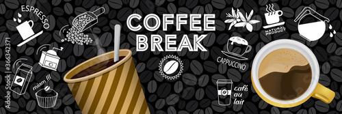 Valokuvatapetti Bannière ou affiche autour du thème du café avec des éléments en couleur et au trait blanc sur un fond de tableau noir