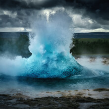 Strokkur Eruption - Geyser In Haukadalur, The Valley Of The Geysers In Iceland