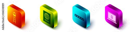 Slika na platnu Set Isometric Watch tower, Passport, Password protection and Laptop and lock icon