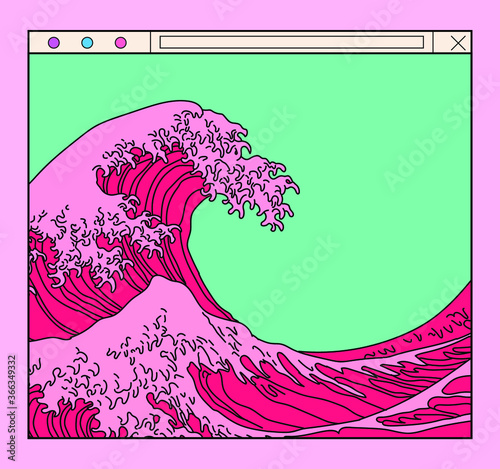 Valokuva Great Wave in Vaporwave Pop Art style