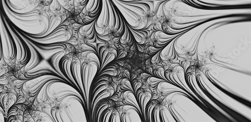 Fotografija Black & White Abstract Fractal Background - multiple spider-webs woven into this intricate design