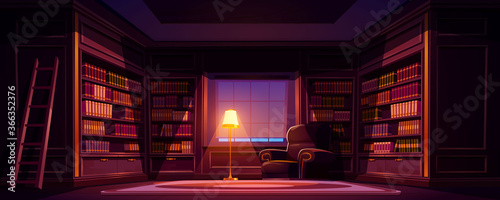 Cuadros en Lienzo Luxury old library interior at night, dark empty room for reading with books on