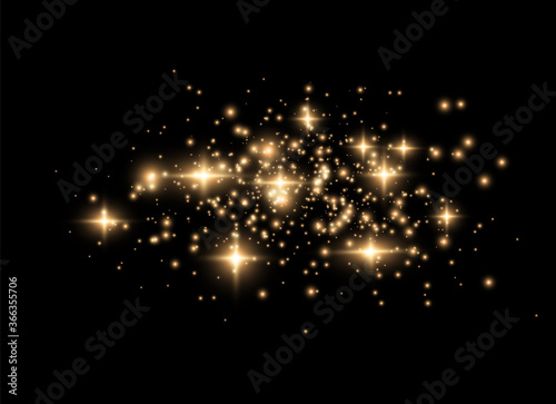 Golden dust sparks. Fotobehang