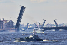 View Of Russian Navy, Modern Russian Military Naval Battleships Warships In The Row, Northern Fleet And Baltic Sea Fleet, Summer Sunny Day During The Military Exercise