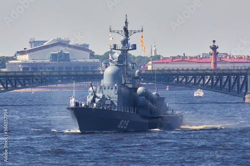 View of Russian Navy, modern russian military naval battleships warships in the Fototapet