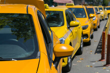 Yellow Taxi Cars On The Empty ...