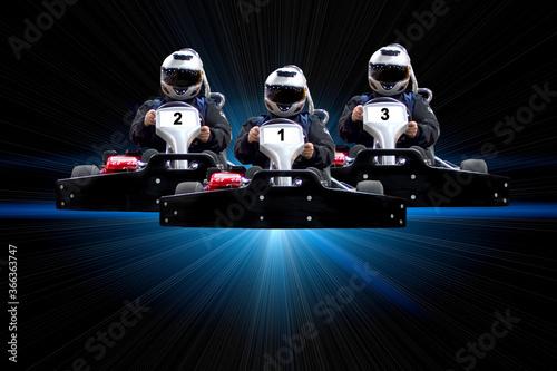Obraz na plátně go kart indoor, cart racing fast, car where gokarting