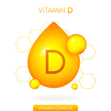 Vitamin D Realistic Icon. Pill Capsule In The Form Of A Drop Isolated On White Background. Vector.