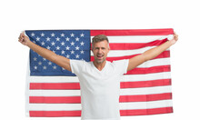 Man With American Flag Proud C...