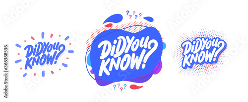 Fototapeta Did you know. Vector banners.