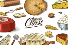 Cheese Poster Or Banner. Slices Of Edam And Mozzarella For Market Or Grocery Store. Cheeseboard And Fresh Organic Milk Background. Vector Engraved Hand Drawn Sketch For Label Or Menu.