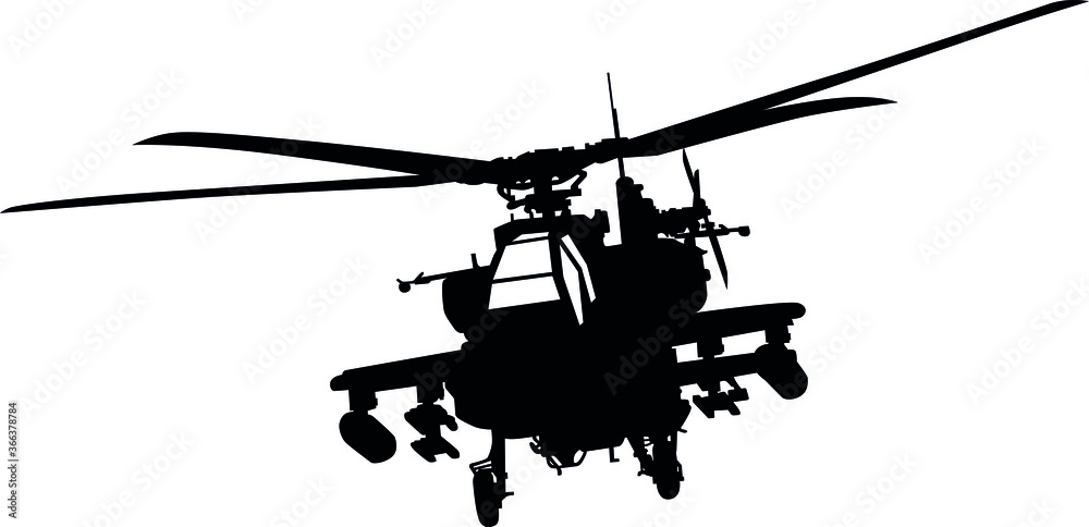 Fototapeta AH-64 Apache military aircraft helicopter attack flying, Longbow Air Force Military helicopter Silhouette