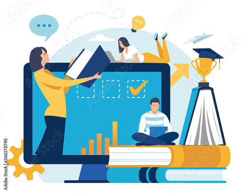 Fotografia Distance learning. Education concept vector illustration.