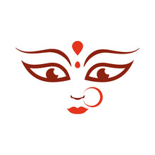 Goddess Durga Face In Happy Na...