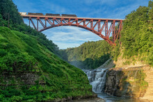 Train Crossing The Arch Bridge At Letchworth State Park