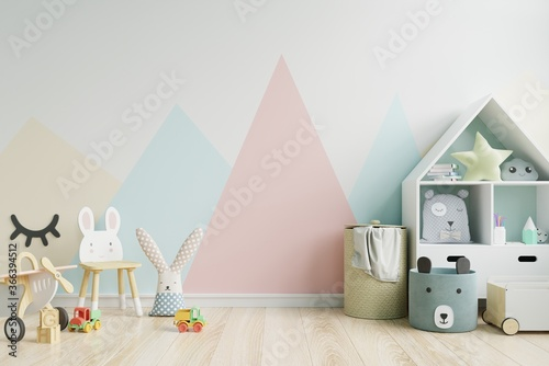 Fotografering Mockup wall in the children's room on wall pastel colors background