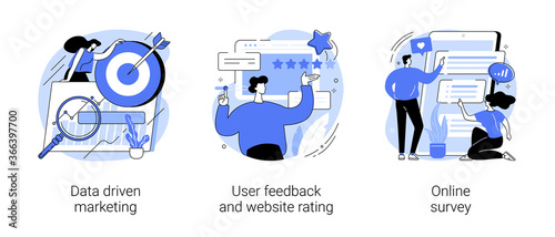 Customer behavior analysis abstract concept vector illustration set. Data driven marketing, user feedback and website rating, online survey, user data, marketing research tool abstract metaphor.