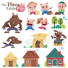 Vector Illustration Of Cartoon Three Little Pigs. Set Of Cute Characters