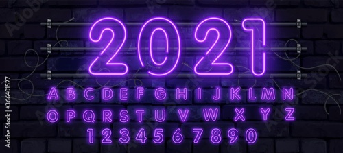 Purple vector neon tube alphabet font Fototapete