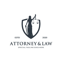 Woman / Lady Law Logo Concept With Shield Element.