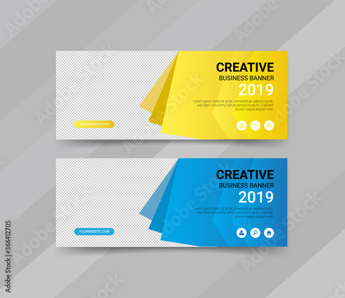 Creative business web banner templates design Canvas Print