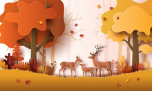 Paper Art Style Of Autumn Landscape With Deer Family In A Forest, Many Beautiful Trees, And Leaves.