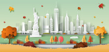 Paper Art Style Of The Statue Of Liberty, New York USA City Skyline, Beautiful Landscape Autumn Background, Travel, And Tourism Concept.