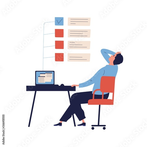 Fototapeta Concept of missing deadline, bad time management. Scene of tired, nervous, stressed man clutches head at work, to do list with red ticks. Flat vector cartoon illustration isolated on white background obraz