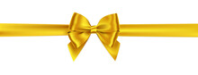 Realistic Golden Bow And Ribbo...