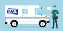 Mail Delivery Truck. Happy Pos...