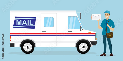 Fototapeta Mail delivery truck. Happy postman in uniform. Caucasian mailman hold letter. Courier with mailbag, delivery and post service. White postal van. obraz