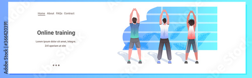 Fototapeta mix race men doing yoga fitness exercises training healthy lifestyle concept guys working out horizontal full length copy space vector illustration obraz