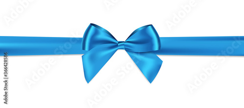 Leinwand Poster Blue bow and horizontal ribbon realistic shiny satin with shadow for decorate your gift card or website vector EPS10 isolated on white background