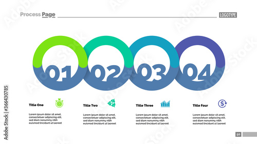 Four circle flowchart with description slide template Canvas-taulu
