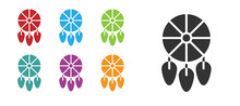Black Dream Catcher With Feathers Icon Isolated On White Background. Set Icons Colorful. Vector Illustration.