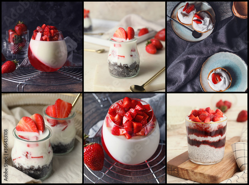 Collage of photos with tasty strawberry desserts