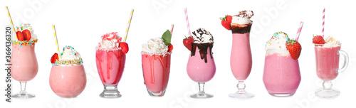 Obraz Tasty strawberry milkshake on white background - fototapety do salonu