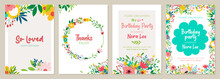 Set Of Floral Universal Artistic Templates. Good For Greeting Cards, Invitations, Flyers And Other Graphic Design