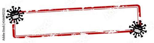 CORONAVIRUS banner - Red grunge scratched blank empty stamp sticker, with cartoo Canvas Print