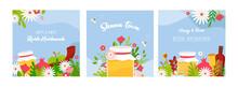 Rosh Hashanah Jewish New Year Holiday Greeting Card Design Set. Greeting Cards With Symbols Of Jewish Holiday Rosh Hashana, New Year. Shana Tova - Blessing Of Happy New Year. Vector Illustration Desig