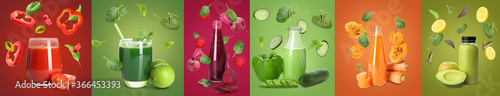 Photographie Different vegetable juices and flying ingredients on color background