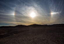 Sundog Before Sunset In Israeli Desert. Spectacular View Of The Desert Sky