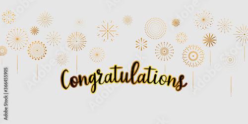 Obraz congratulations Gold celebration background with fireworks. - fototapety do salonu