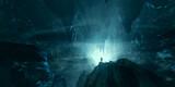 Fototapeta Perspektywa 3d - man exploring dark fantasy cave 3d illustration