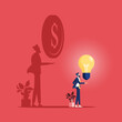 Businessman with idea bulb and his shadow get a money-Business creativity concept