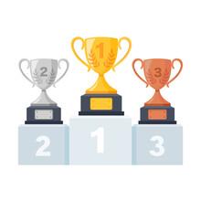 Gold, Silver, Bronze Trophy Cu...