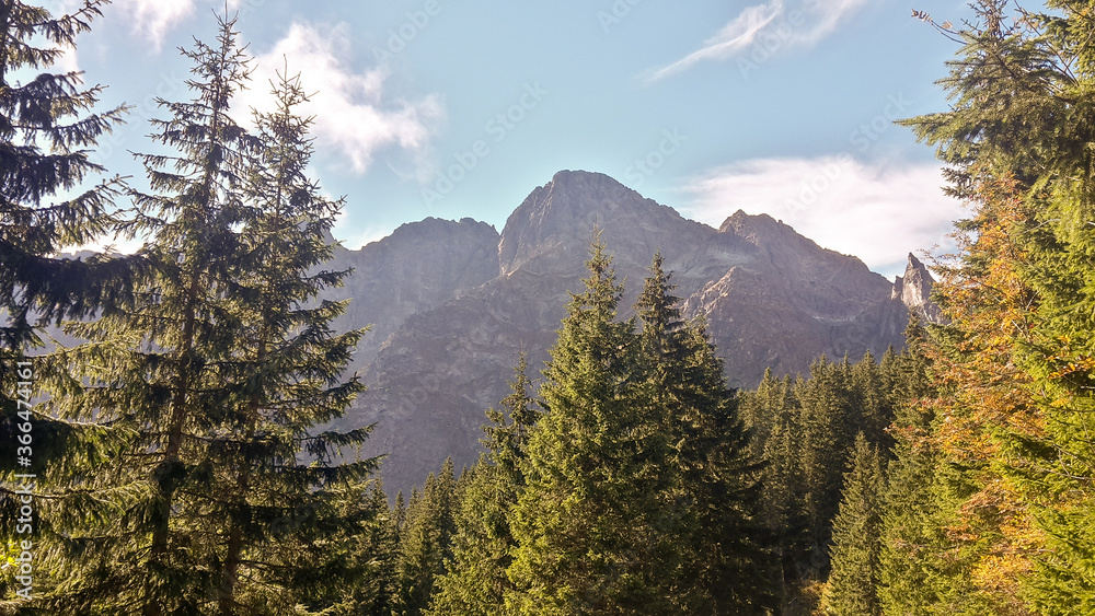 Mountain view in Poland. Tatra mountains landscape in summer season.