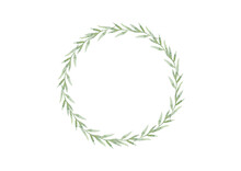 Watercolor Circle Frame Wreath And Leaves. Floral Banner On White Background
