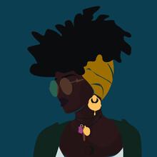 Curly Black Woman In Turban Wi...